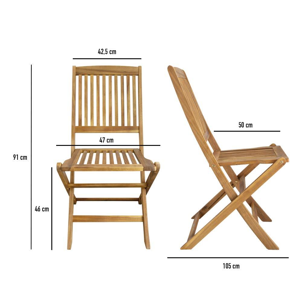 Aktive 61003 - Set 2 sillas de Madera para Exterior Garden