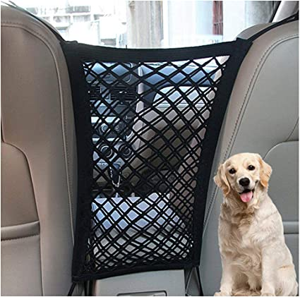 Metal Hooks /& Stretchable Mesh Obstacle Back Seat Net Organizer rabbitgoo Dog Car Net Barrier,13.98 /× 15.55 Drive Safely with Children /& Pets Desgin for Pet Disturb Stopper /& Storage Pouch