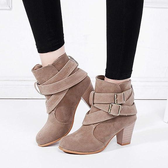 2a00b27320c98 Xinxinyu Bottes Chaussures Femme ❤ Mode Bottines en Faux Suède Bretelles  Boucle Bottes de Neige Femmes Talons Carre Bottes Courtes  Amazon.fr   Chaussures ...