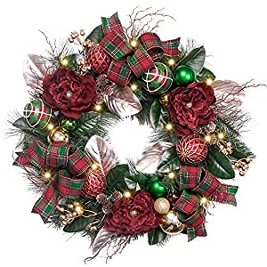 Teresa's Collection Red Green Gold Wreath and Garland