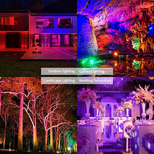 ELlight Smart Outdoor LED Flood Lights 20W RGB Color Changing Lights, Bluetooth Connected APP Control, IP66 Waterproof, Timing, 2700K-6500K, Perfect for Garden Landscape Stage Lighting [2Packs]