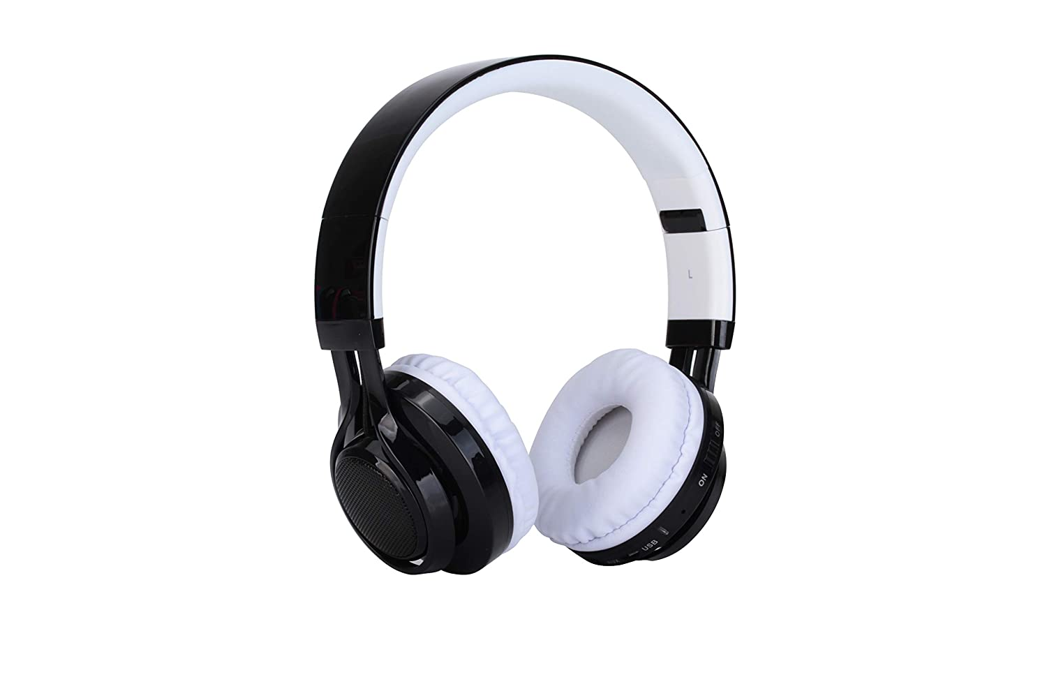 Bluetooth Headphones, LED Light Up Wireless Foldable Headphones Over Ear with Mic (White)