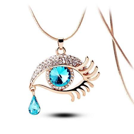 PiPisun Collar de Corbata para Hombre Blue Eyed Long Eye Crystal ...