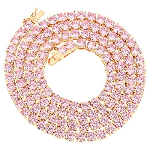 Bling Bling NY New 1 Row Tennis Necklace Choker Chain Lab Created Diamonds 4MM Iced Out Solitaires Multi Color 18-24 inches (Pink/Rose Gold, 18.0) ()