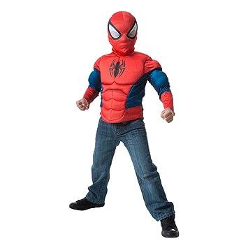 Disfraz de Spiderman para niños, pecho y máscara, infantil talla única (Rubies 31517