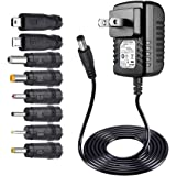 SoulBay 5V 2A AC Adapter Charger Replacement w/ 8 Tips, Versatile Regulated Power Adapter for USB Hub, TV Box, MP3/MP4…