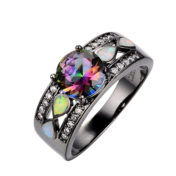 rongxing jewelry opal rings rainbow mysteric crystal womens black gold size 5 wedding - Rainbow Wedding Rings