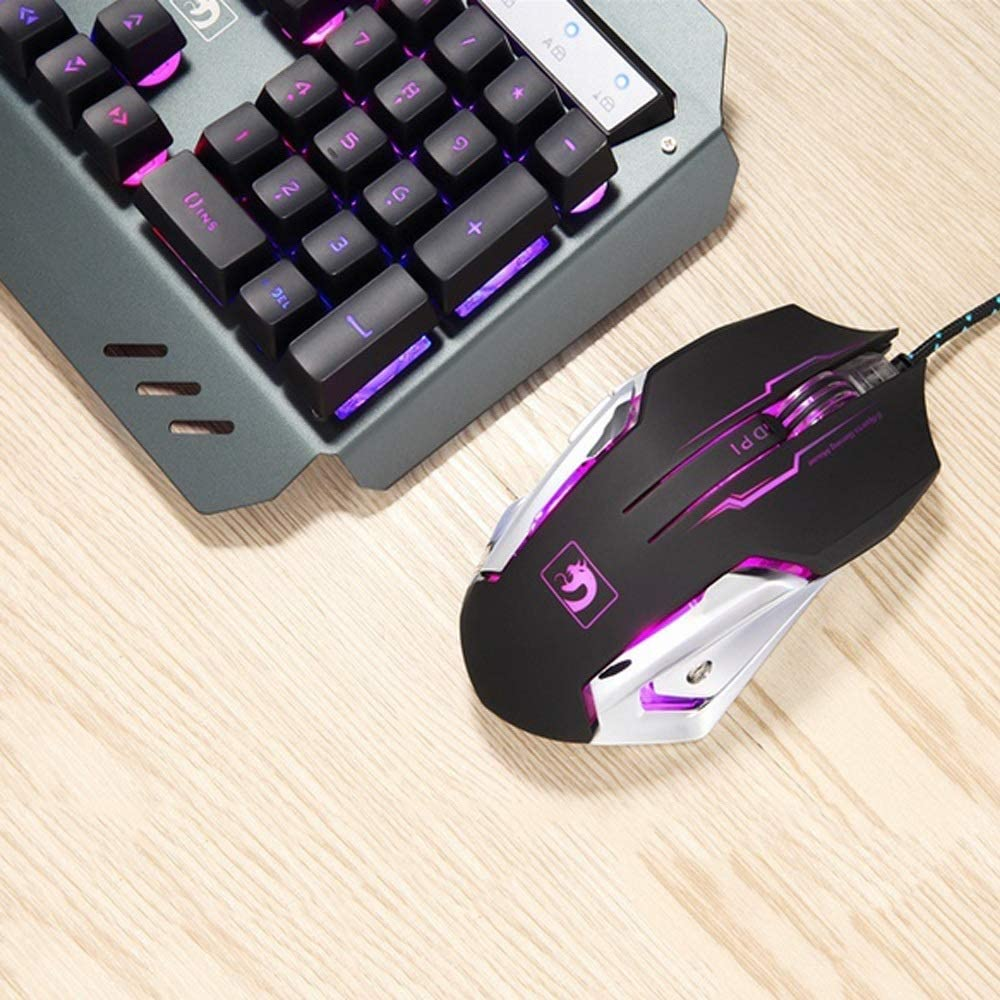 CQIANG New Wired Keyboard and Wired Mouse Combo ,Rainbow Backlit Keyboard Adjustable DPI Mouse Keyboard and Mouse Combo with Ergonomic Design, Windows PC Gamer Desktop