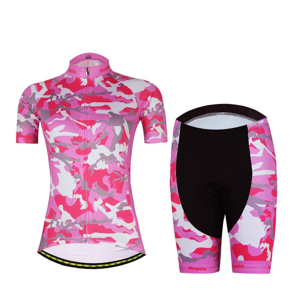 レディースサイクリングシャツ服自転車半袖and Bibショーツセットaogda夏サイクリングジャージージャケットタイツ B01N9A5OTN Small|Suit 4 Suit 4 Small