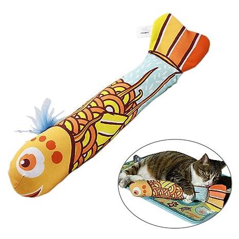 KOBWA Juguetes de Gato Natural, Juguete Interactivo Original para Gato, Forma de pez,