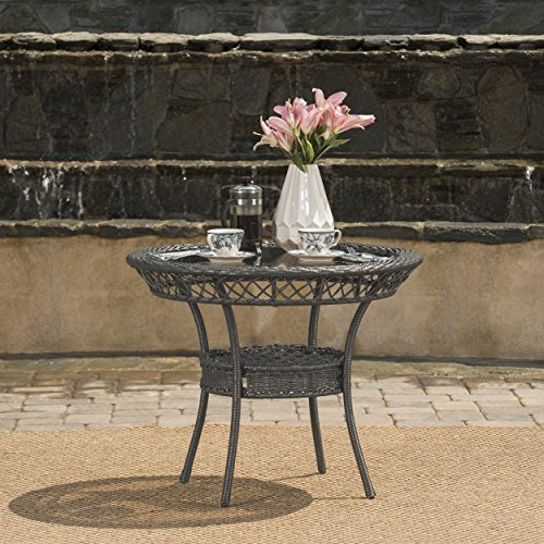 """Durango Outdoor 34"""" Grey Wicker Table with Tempered Glass Table Top"""