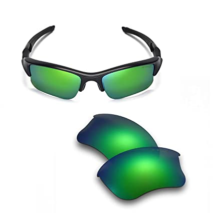bf8e413c0b2 Walleva Replacement Lenses Or Lenses Rubber Kit for Oakley Flak Jacket XLJ  Sunglasses - 41 Options (Emerald - Mr. Shield Polarized)