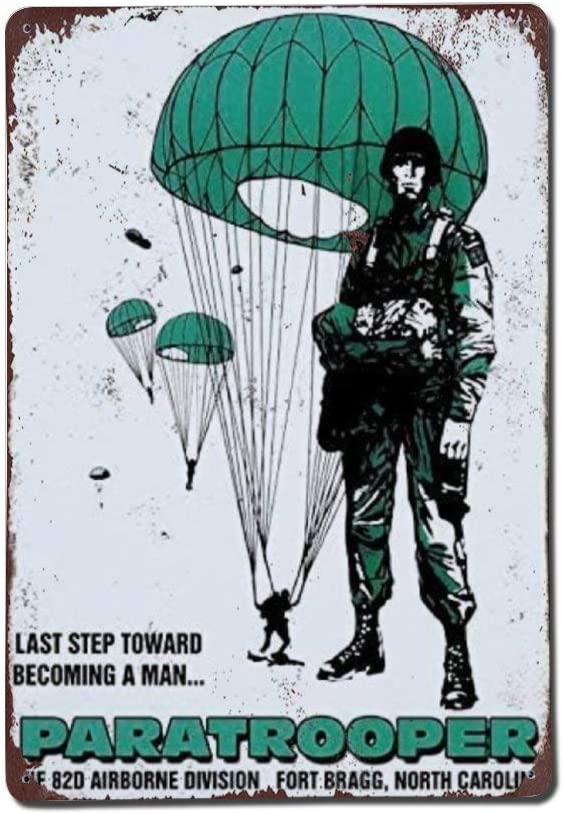 82nd Airborne Division Recruitment Poster Photo Us Army Recruiter Paratrooper Military Sign Retro Aluminum Metal Tin Sign Military Fan Sign Memorial Sign Wall Decor Art Plaque Poster Home Decor