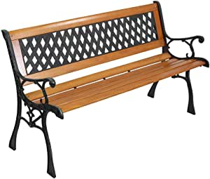 "YYAO Garden Bench Outdoor Patio Bench 50"" Metal Bench Park Bench with Armrests Backrest,Hardwood Patio Furniture Bench for Porch Work Entryway Yard Lawn,Bronze & Natural"