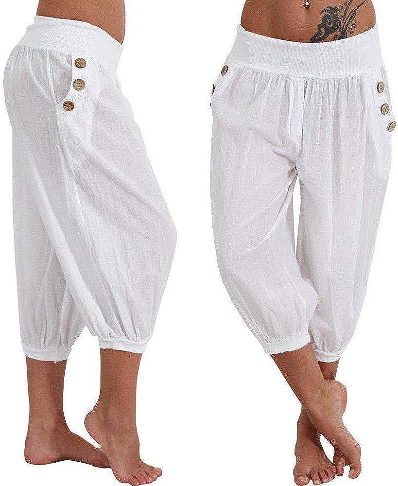 Pantalon Jambe Large Femme Grande Taille Pantacourt Ample Palazzo Sport L/âche Fitness Jogging Yoga Sarouel Taille Haute /Ét/é Chic Pants Bouton Poche Casual Baggy Mode Leggings S-5XL