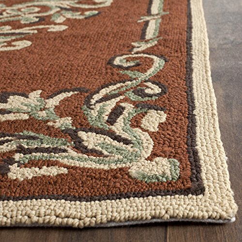 Safavieh Easy to Care Collection EZC735B Hand-Hooked Rust and Multi Area Rug (2' x 3')