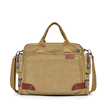 2c7061160d0 Image Unavailable. Image not available for. Color  AILOVYO Solid Khaki  Casual Vintage Multifunction Trunk Men s Canvas Travel Crossbody Shoulder  Messenger ...