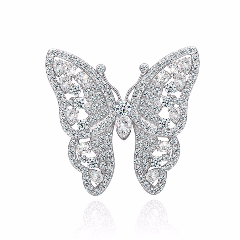 GULICX Shinning Butterfly Brooch Pin Silver Plated Base Party Gift with Full White Cubic Zirconia by GULICX