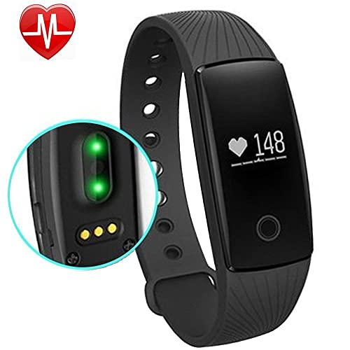 Fitness Tracker, AsiaLONG Heart Rate Monitor Smart Bracelet Activity Tracker Pedometer Watch with Step Counter, Calorie Tracker, Sleep Monitor, Call/SMS/Sedentary Reminder for Android iOS Smartphones