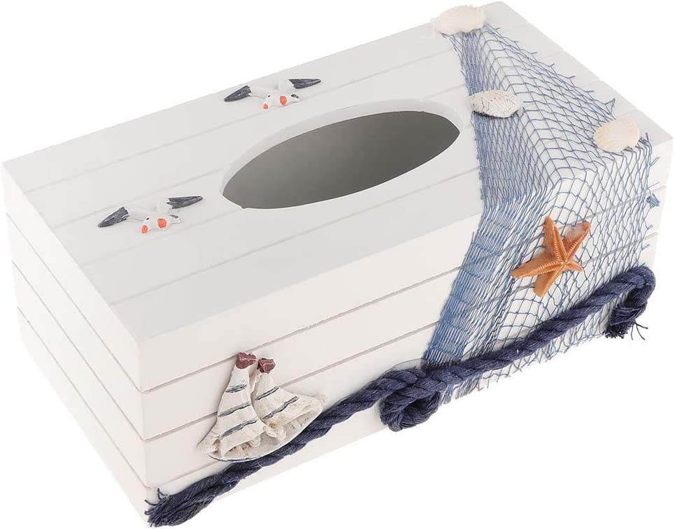 A Handmade Natural Wood Eco-friendly Decorative Facial Tissue Holder Box Creative Design with Sailboat and Seashell F Fityle Tissue Box 24x12x10cm