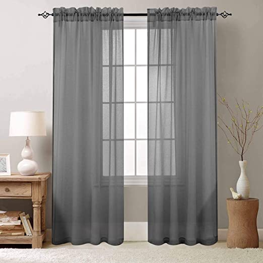 Amazon Com Bedroom Sheer Curtains Grey Sheer Curtain 84 Inch Long Drapes For Living Room Bedroom Voile One Pair Rod Pocket Kitchen Dining