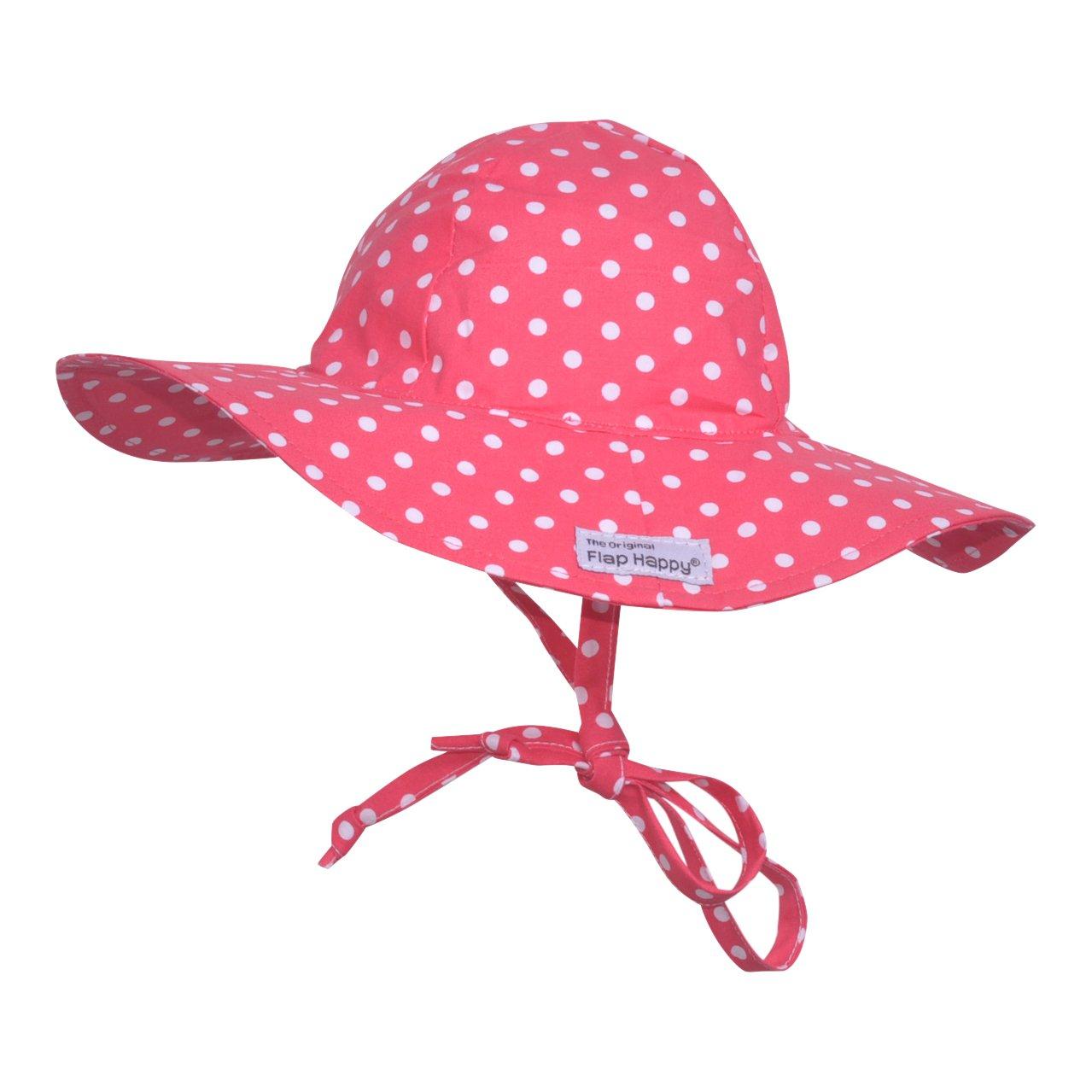 Flap Happy Baby Girls' UPF 50+ Floppy Hat, Red Dot, Medium