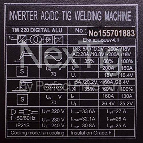 Soldador inverter TIG ACDC 200 A Digital pulsada NX 220 Digital Alu 10 Prog.: Amazon.es: Hogar
