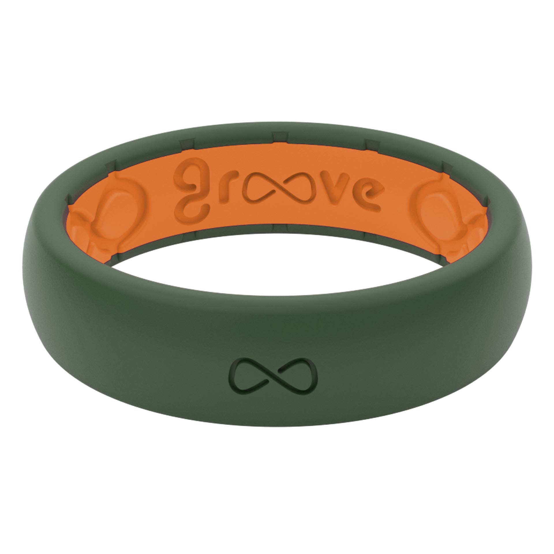 Groove Life - Silicone Ring for Men and for Women Wedding or Engagement Functional Rubber Band with, Breathable Grooves, Comfort Fit, and Durability - Thin Solid Moss Green Size 4
