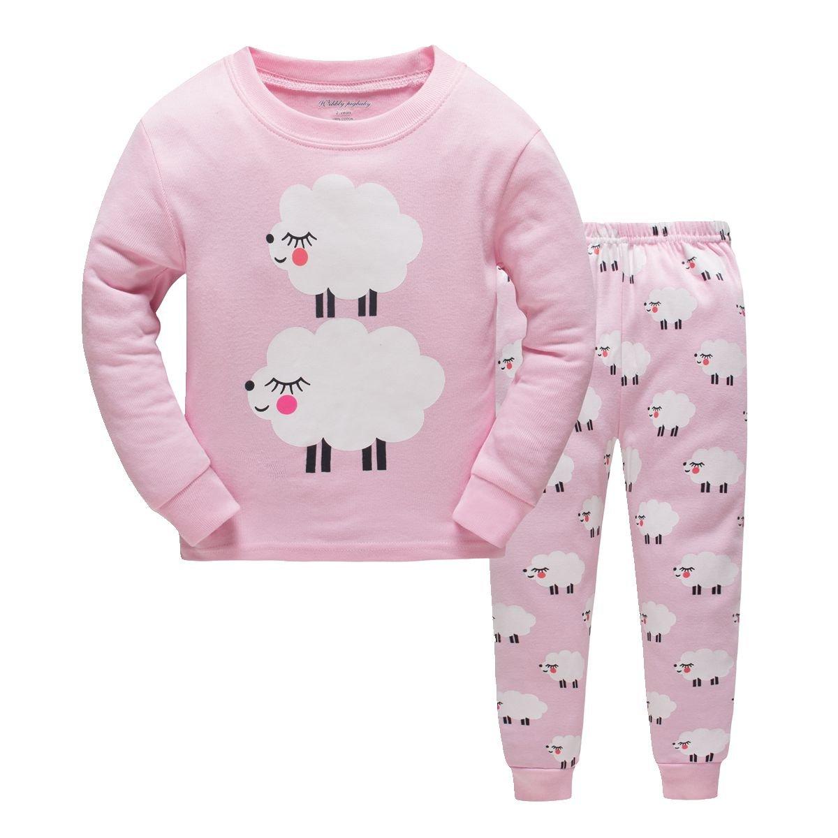 Girls Pajamas Cosy Cotton Long Sleeves Toddler Cute Sheep Pjs Sleepwear 2 Piece Yzjcafriz