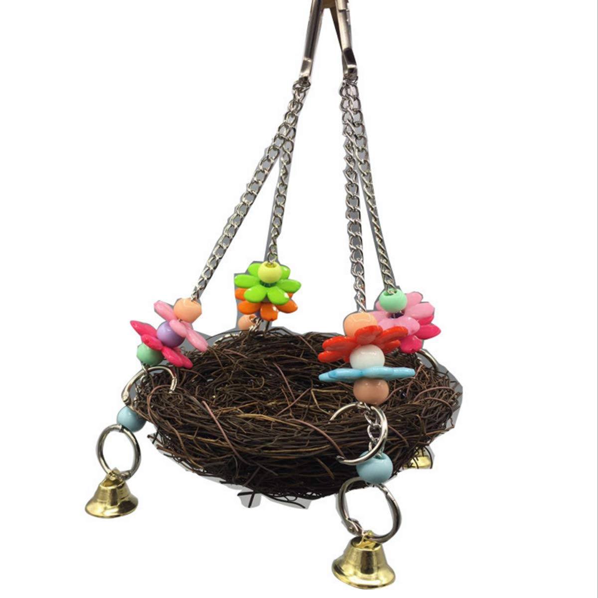Natural Rattan Nest Bird Swing Toy with Bells, Bird Swing Standing Perch Toy for for Parrots Parakeet Cockatie Budgie Lovebirds Hamster Parrot Parakeet Beauy Girl