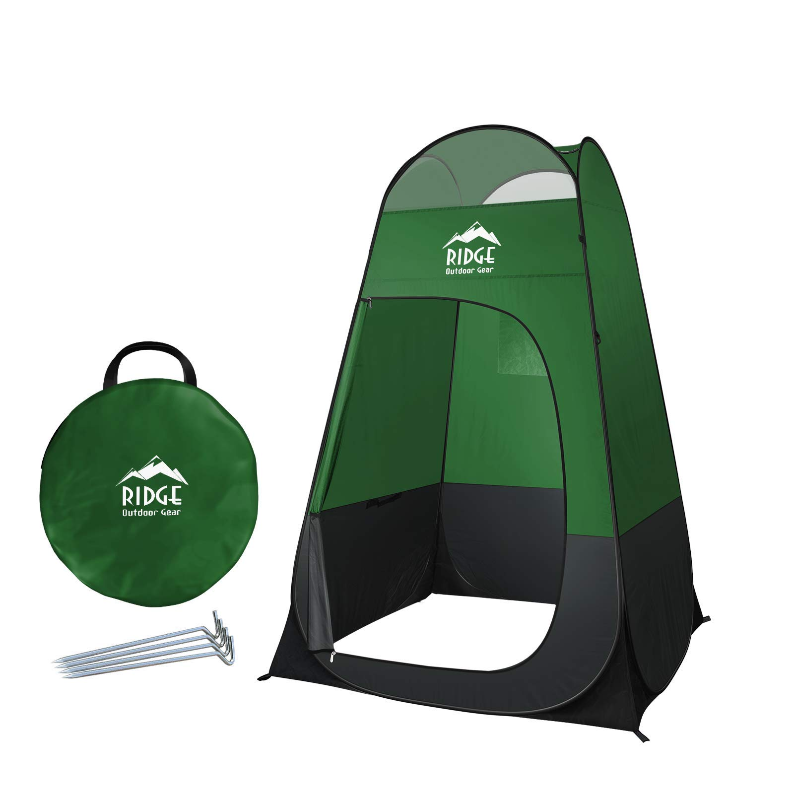 Ridge Outdoor Gear 6.5ft Pop Up Changing Shower Privacy Tent - Portable Utility Shelter Room with rainfly Ground Sheet for Camping Shower Toilet Bathroom Trade Shows Beach Spray tan popup (Green) by Ridge Outdoor Gear