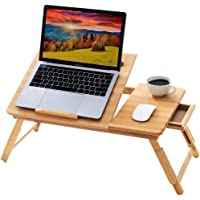 BMH 100% Natural Bamboo Foldable Laptop Desk Adjustable Height Bed Tray Table with Drawer for Eating and Reading Ipad…
