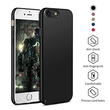 pretty nice d9150 41d4a Amazon.com: iPhone 7 Case Black Anti-Scratch Design with Shockproof ...