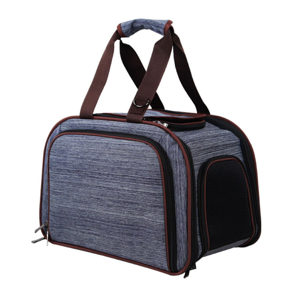Navybluee 43.526.529cm Navybluee 43.526.529cm EDYUCGA Outgoing Portable Dog Bag Pet Travel Bag Cat Cage Pet Air Box Car Bag Dog Backpack,Navybluee-43.5  26.5  29cm