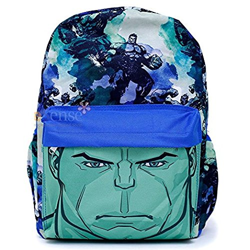 Marvel Avengers Hulk Backpack Boys Book Bag All Over Prints Big Face