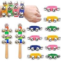 Wrist Band Bells, 10PCS Multi-Color Jingle Bells Musical Rhythm Toys with 2PCS Handle Wooden Bells for Kids Children School Party