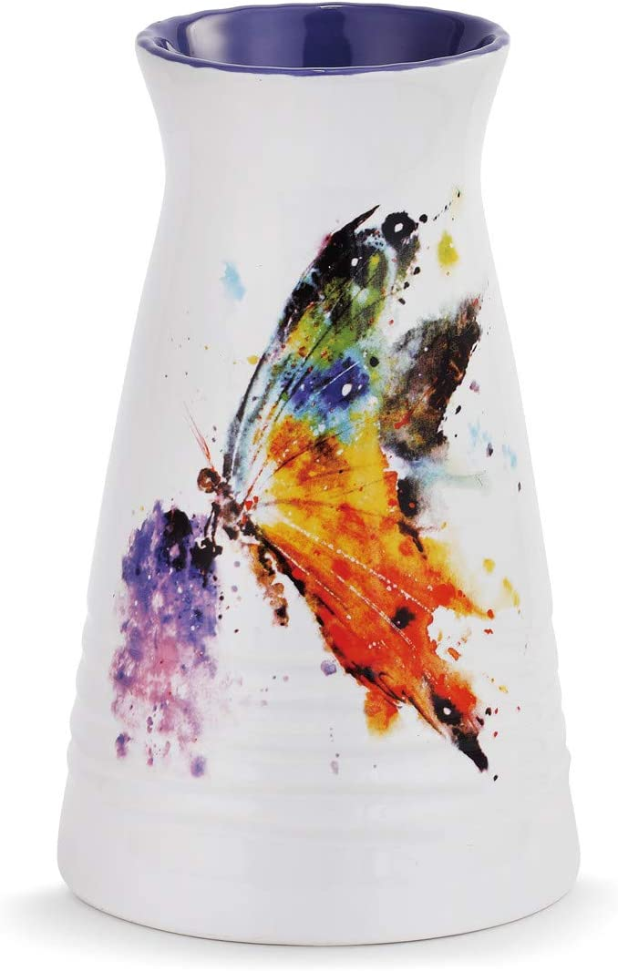 Demdaco Dean Crouser Kaleidoscope Butterfly Watercolor Purple 7 x 5 Glossy Ceramic Stoneware Vase