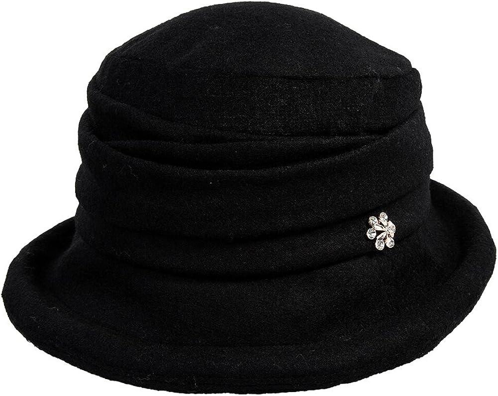 Womens Black Vintage Wool Felt Cloche Bucket Hat Winter Fall Packable at  Women's Clothing store