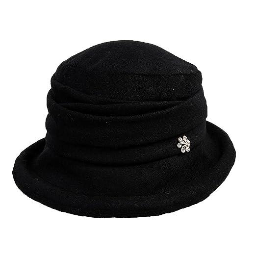 SIGGI Womens Black Vintage Wool Felt Cloche Bucket Hat Winter Fall Packable 71b7e7e7cc1f