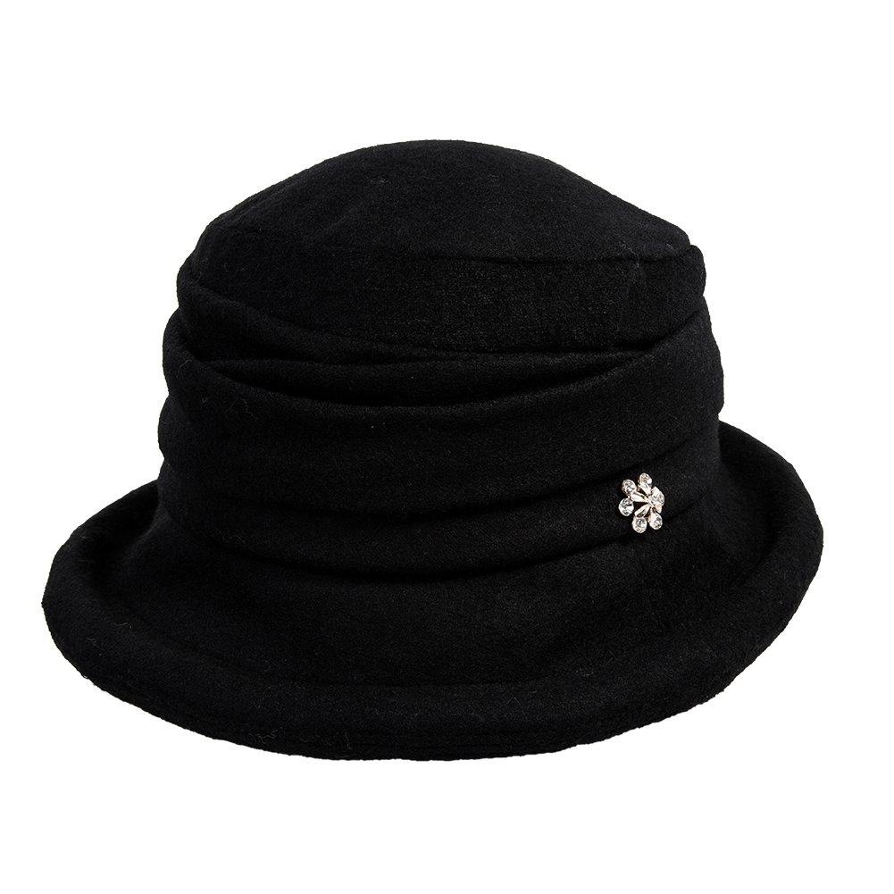 91d823d34b Details about Siggi Womens Black Vintage Wool Felt Cloche Bucket Hat Winter  Fall Packable