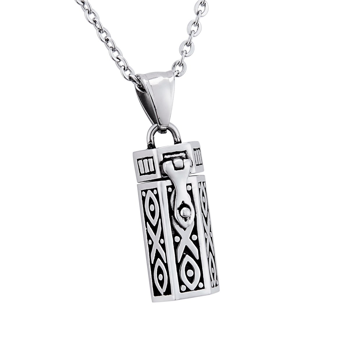 Stainless Steel Cuboid Prayer Box Locket Pendant Necklace Memorial Jewelry Supreme glory B0734WDNT1_US