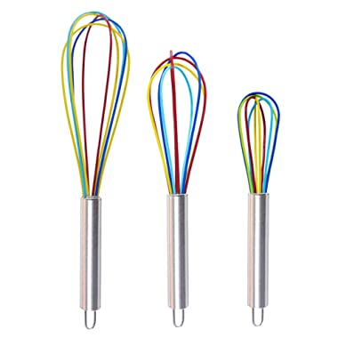 Set of 3 Stainless Steel & Silicone Whisk 8 +10 +12 , Kitchen Balloon Hand Stainless Whisk Set for Blending Whisking Beating Stirring by Ouddy