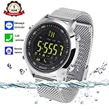 Bluetooth Smart Watch Waterproof Smartwatch Sports Smart Watches for Men Women Boys Kids Android IOS iphone Samsung Huawei with Pedometer Fitness Tracker SMS Call Reminder (Silver steel)
