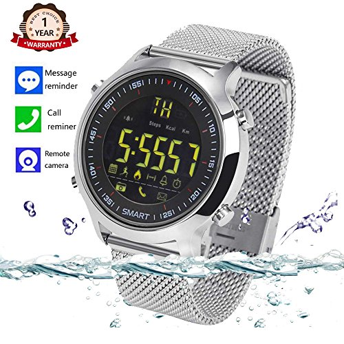 Bluetooth Smart Watch Waterproof Smartwatch Sports Smart Watches for Men Women Boys Kids Android IOS iphone Samsung Huawei with Pedometer Fitness Tracker SMS Call Reminder (Silver steel) by Agkey