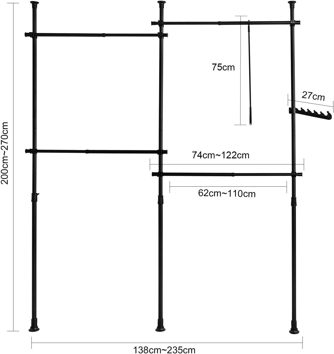 SoBuy KLS03-SCH Kleiderst/änder Garderobenst/änder mit 4 Kleiderstangen Teleskop Garderoben System Verstellbares Regalsystem schwarz BH ca. 138-235x200-270cm
