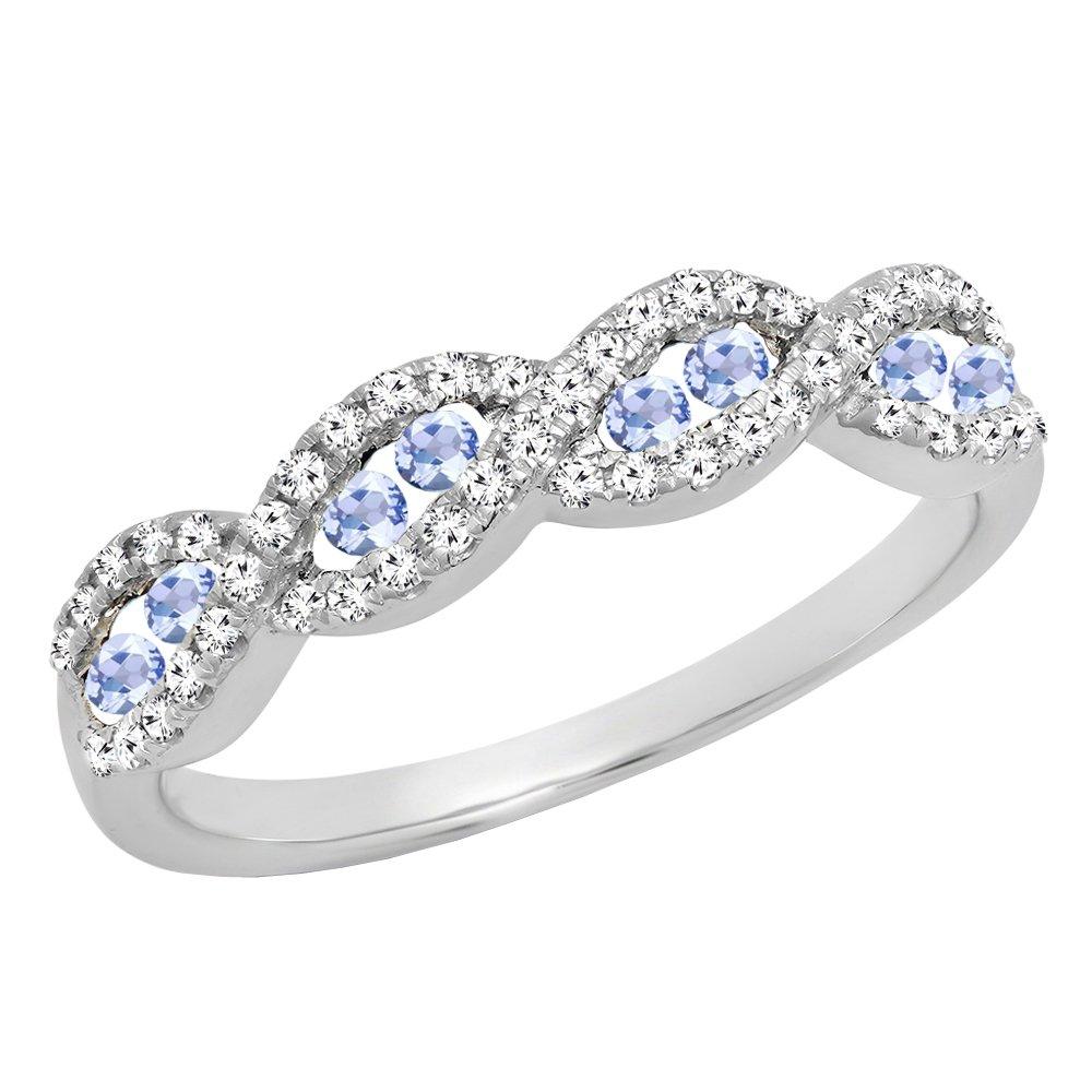 10K White Gold Round Tanzanite & White Diamond Ladies Anniversary Wedding Band (Size 6)