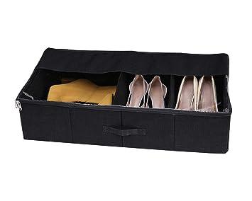 Sturdy Underbed Shoe Storage.Veamor Slide Sturdy Folding Underbed Shoe Storage Boxes With Zippers Shoe Organizers For Oversize Boots High Heels Black 1pcs