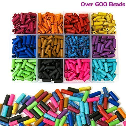 Ceramic Tube Beads - Over 600 Ceramic Tube Beads for Jewelry Making with Free Genuine Leather Cord Necklace - Handmade Colorful Premium Quality Craft Bead Kit - Unique Craft Supplies
