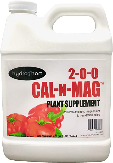 Cal-N-Mag Plant Supplement by HydroHort | Our Cal-N-Mag Supplement is a Calcium Fertilizer and Magnesium Fertilier | Stop Blossom End Rot with Cal Mag for Plants | 1 QT