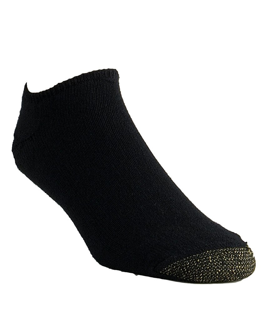 Gold Toe Men's Cotton No Show Athletic Sock - One Size - Black, (6-Pack)